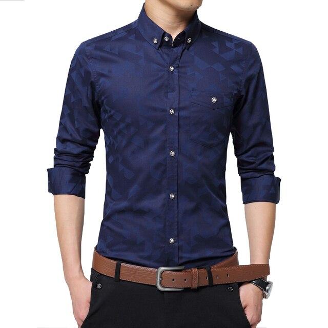 Fashion 2016 Autumn Men's shirts men  jacquard  Long sleeve men high quality cotton pocket  camisas