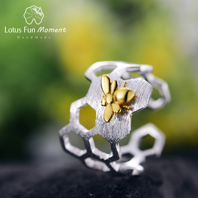 Lotus Fun Moment Real 925 Sterling Silver Cute Bee Ring Fashion Jewelry Creative Honeycomb Open Ring Home Guard Rings for Women