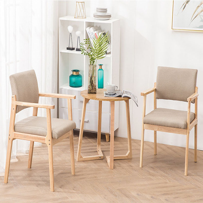Image 4 - Solid Wood Dining Chair Armrest Nordic Home Furniture Modern Minimalist Back Casual Coffee Study Bedroom Dining Real Wood ChairDining Chairs   -