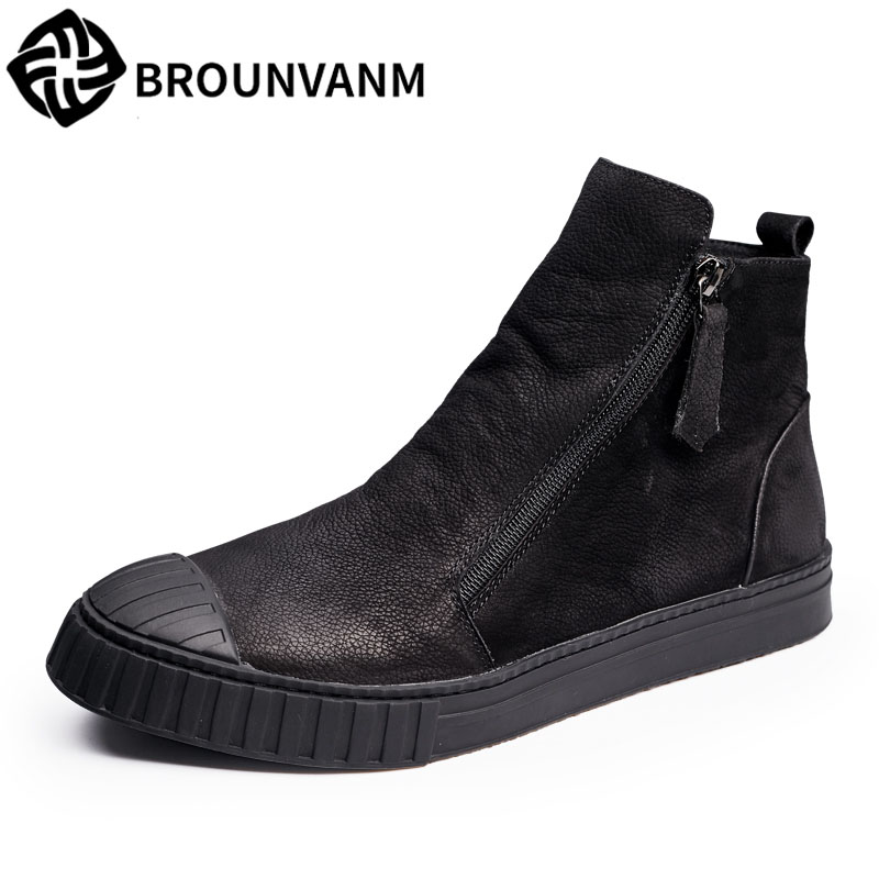 black vintage high casual boots 2017 new men shoes new autumn winter British retro men shoes zipper leather shoes breathab 2017 new autumn winter british retro zipper leather shoes breathable sneaker fashion boots men casual shoes handmade