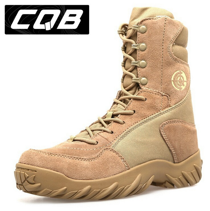 2017 New US Army Military Tactical Boots Men Military Desert Combat Boots SAND AND BLACK,EUR SIZE 35-45