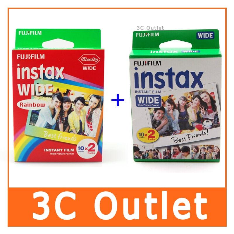 Wholesale Fujifilm Instax Wide Film , Rainbow + White Wide Film , Free Shipping