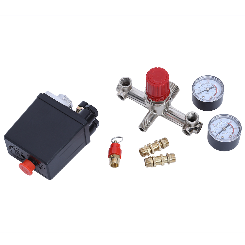 240V 90-120PSI Air Compressor Pressure Switch Control Valve Manifold Regulator With Air Regulator Press Gauges vertical type replacement part 1 port spdt air compressor pump pressure on off knob switch control valve 80 115 psi ac220 240v