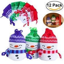 BESTOYARD 12pcs Christmas Plush Drawstring Candy Bag Gift Pouch Christmas