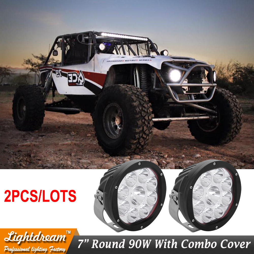 7inch 90W OffRoad 10W LED Work Head Light Spot+Flood Combo Lights 4x4 4WD ATV Truck SUV Car Pick-Up Driving Led Light pair tripcraft 108w led work light bar 6500k spot flood combo beam car light for offroad 4x4 truck suv atv 4wd driving lamp fog lamp