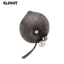 Elegant Lotus Leaf Brooch Pins Brooches for Women Pearl Brooch Natural Stone Ancient Silver Safety Pins Scarf Clothes Jewelry rhinestone octopus flower pins and brooches for women plant brooch pearl crystal metal badges natural stone clothes jewelry gift