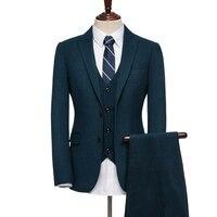 95% шерсть одежда на осень зиму мужские деловые Свадебные Жених комплекты шерстяное пальто + жилет + брюки мужчин slim fit комплекты