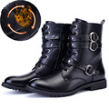 British Punk Style Men Motorcycle Boots 2016 Winter warm Men Shoes  Vintage Combat Boots With Stars Leather Lace Up High L100601