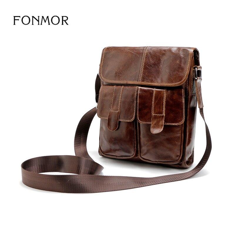 Fonmor Genuine Leather Men bags Fashion Brand Designer Handbags Shoulder Vintage Retro Cow Bags Men Messenger Bags Briefcase