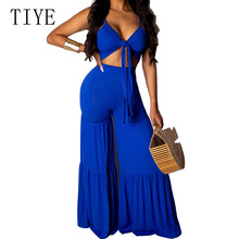 TIYE Blue Casual Wide Leg Pants Summer Sexy V Neck Sleeveless Lace-up Jumpsuits Women Boho Beach Night Party Loose Playsuits