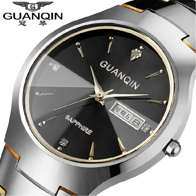 Top Fashion Quartz Watch Guanqin Watches men luxury brand Tungsten Steel waterproof gold silver wristwatch relogio masculino guanqin fashion women watch gold silver quartz watches waterproof tungsten steel watch women business bracelet gq30018 b