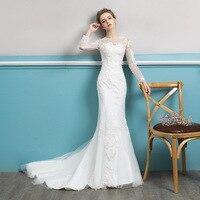 Lace Wedding Dress 2019 New Slim Bride Married Trailing Princess Dream Fishtail Long Sleeve Wedding Reflective Dress