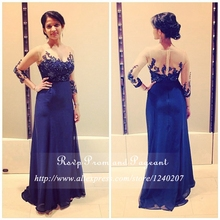 Gorgeous Royal Blue Long Prom Dresses 2017 Boat Neck Sheer Lace Chiffon Appliques Rhinestone Long Sleeve Prom Dress
