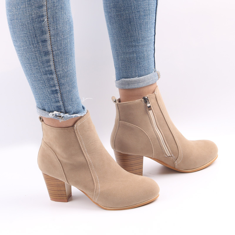 REETENE Women Boots Flock Ankle Boots Fashion Zipper Square Heel Ladies Party Boots Women'S Casual Comfortable Style Shoes