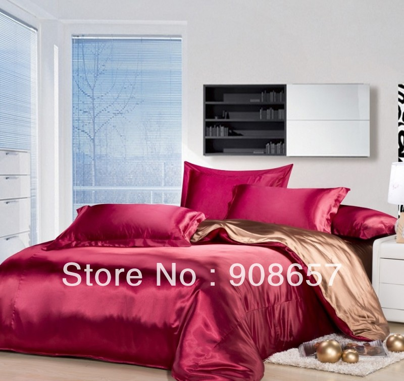 Burgundy Coffee Mix Match Colors Smooth Tribute Silk Satin Bed Linen Girls  Bedding Comforter Queen/full Quilt Duvet Covers Set In Bedding Sets From  Home ...