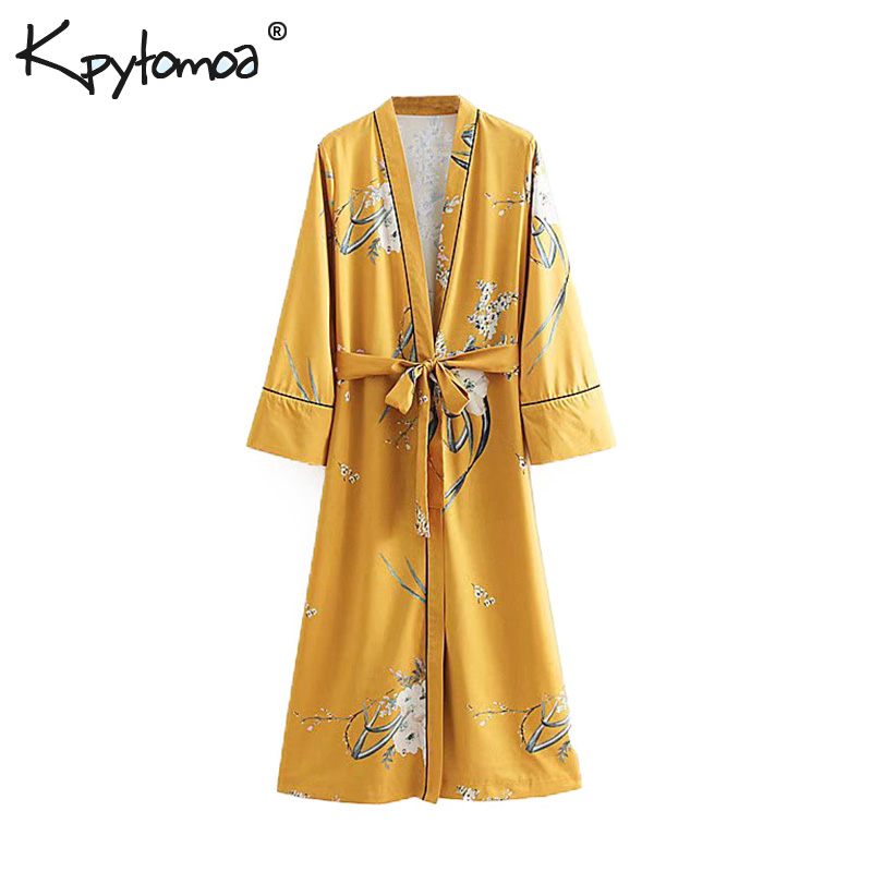 Vintage Chic Floral Print Bow Tie Sashes Kimono Women 2019 Fashion V Neck Long Sleeve Ladies   Blouses     Shirts   Casual Blusas Mujer