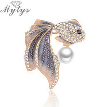 Mytys Crystal Setting Goldfish With Pearl Bubbles Animal Brooches For Girls and Women Cloth Pins Accessory Ornament X279 X280(China)