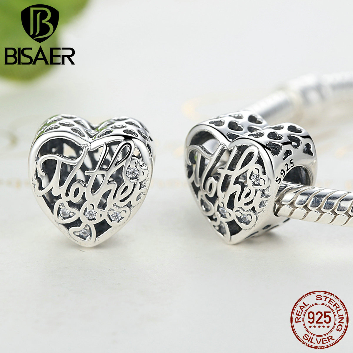 Voroco 925 Sterling Silver Charm Bead Love Pendant With CZ For Husband Bracelet