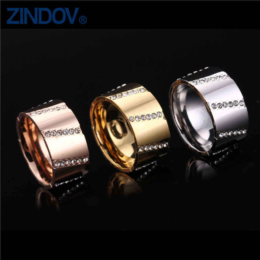 Men Women Couple Stainless Steel Finger Rings Wedding Gold/Rose Plated High Polished Crystal Fashion Brand Jewelry Wholesales