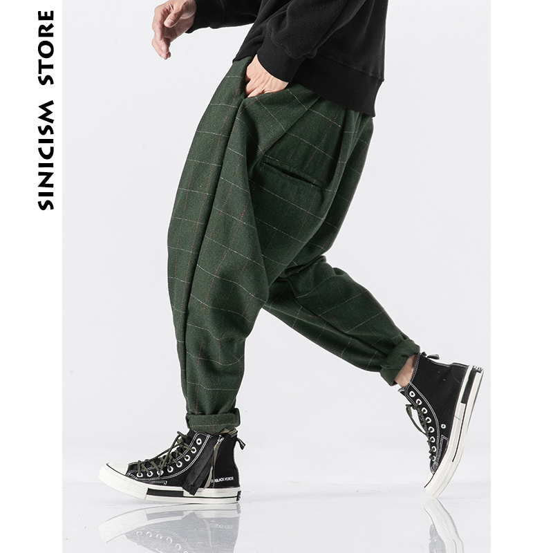 Sinicism Store Men Plaid Joogers Pants 2019 Mens Wool Thick Japanese Streetwear Harem Pants Male Vintage Sweatpants Trouser 5XL