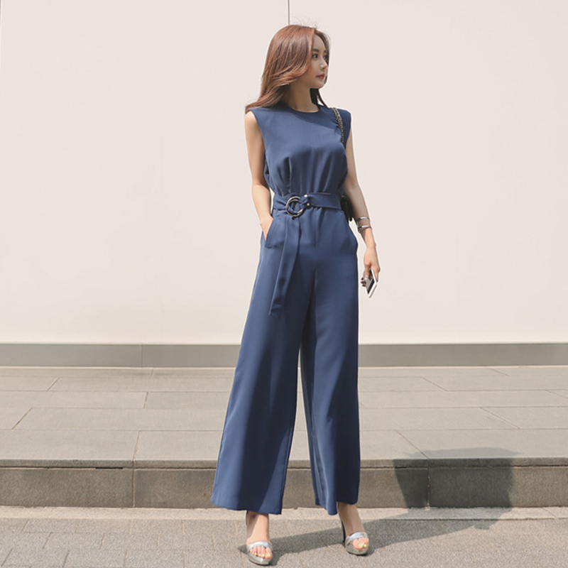 Office Lady Wide Leg rompers   Jumpsuit   Women 2019 Summer Playsuits Solid Bandage Elegant casual chic   Jumpsuit