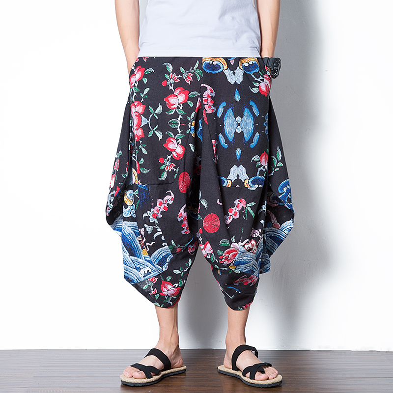 2018 new Bloomers Summer Printing Seven Part Pants Male Easy Low Crotch Trousers Personality City Boy Trend Exquisite Fashion