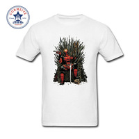 2017 Natural Cotton Cool Deadpool On The Iron Throne Game Of Thrones Funny T Shirt For
