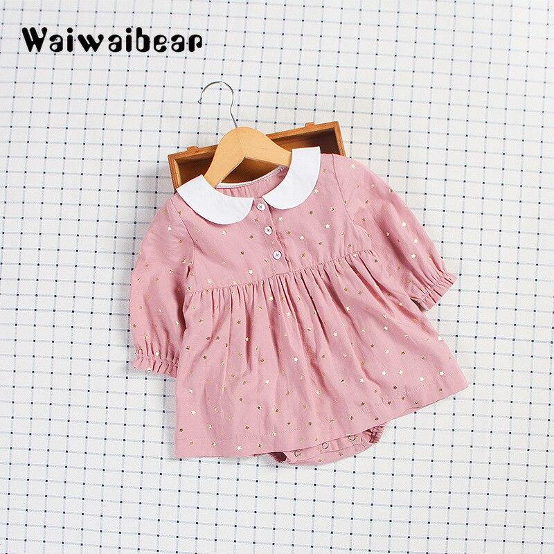 Waiwaibear primavera outono bebê recém-nascido macacão meninas do bebê de manga comprida macacão vestido roupas do bebê