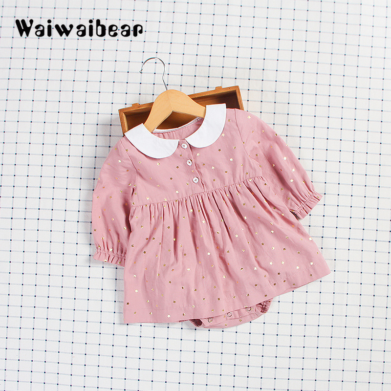 Waiwaibear Spring Autumn Newborn Baby Rompers Girls Long-Sleeved  Dress Outfits Clothing