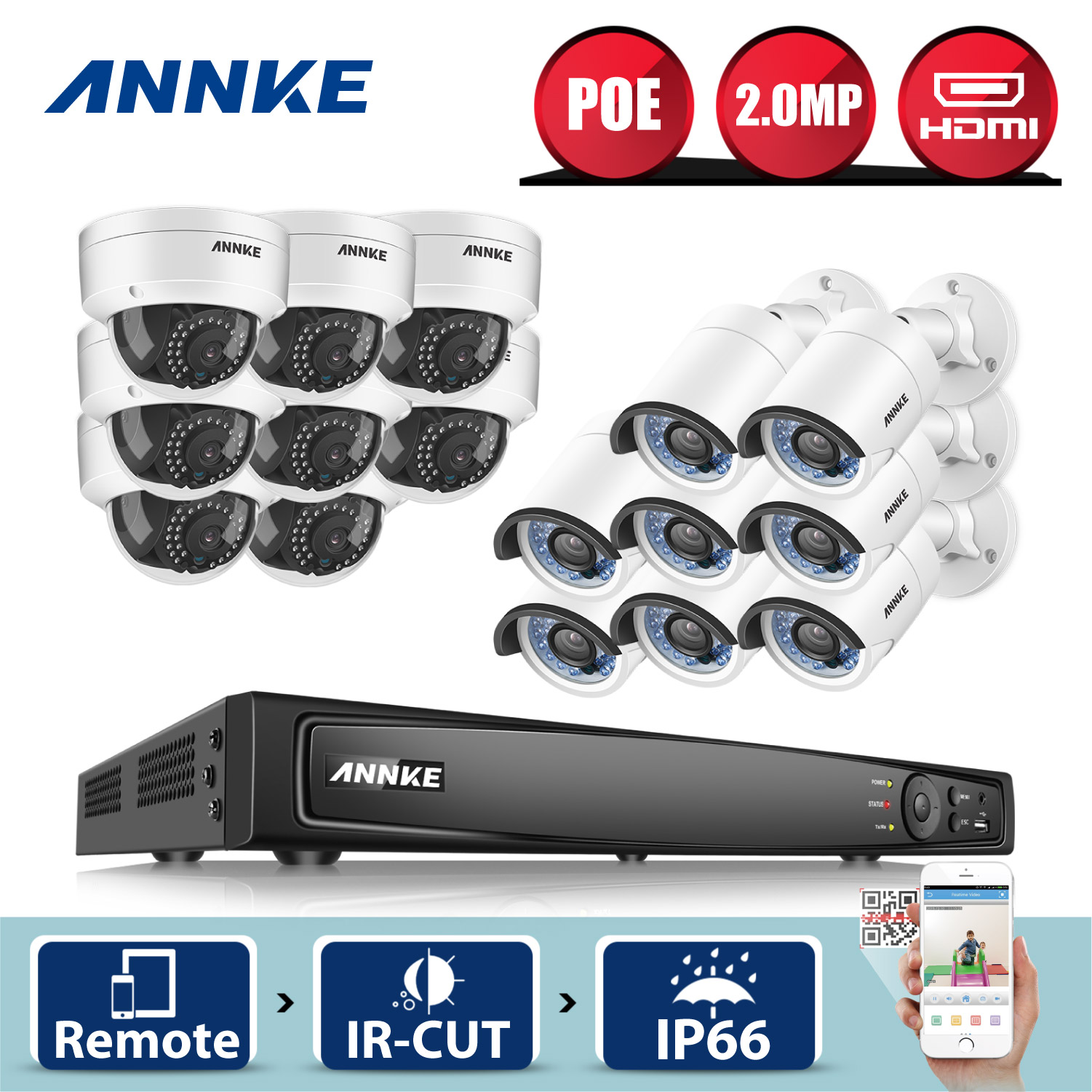 ANNKE Professional 16CH 1080P POE Security Camera System 16CH Security NVR With 8pcs 2MP CCTV Dome/Bullet Cameras, No HDD