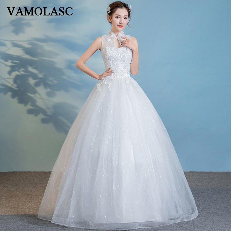 VAMOLASC Illusion Pearls High Neck Lace Appliques Ball Gown Wedding Dresses Sequined Tank Backless Bridal Gowns in Wedding Dresses from Weddings Events