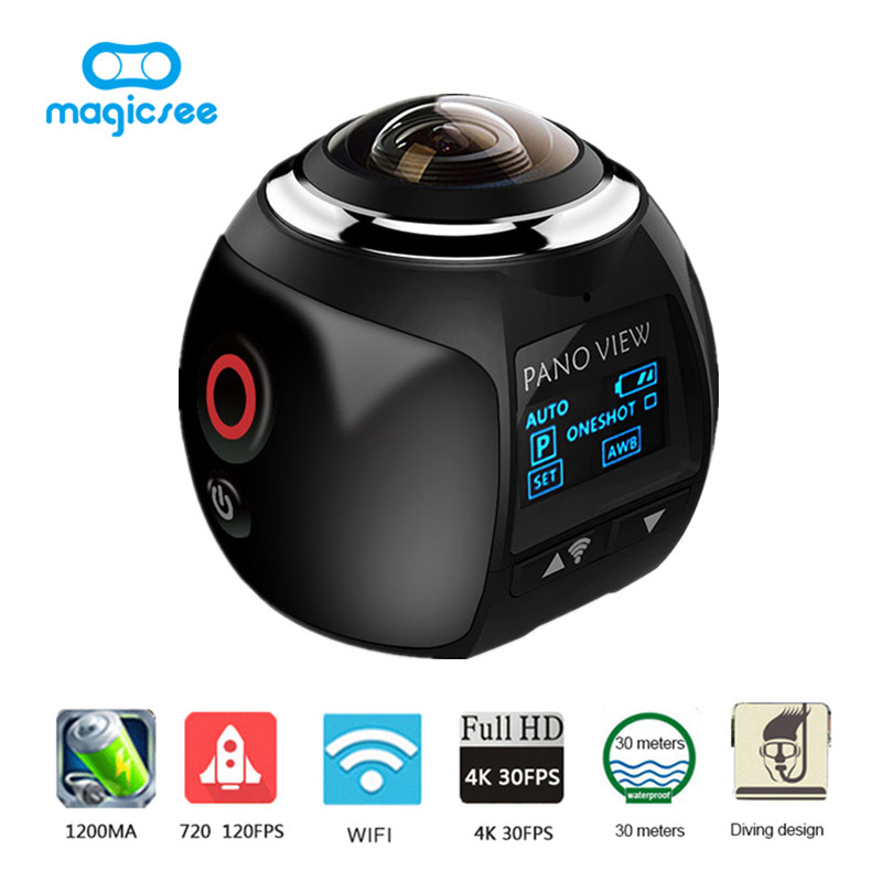 V1 Wireless 360 Degree Panoramic Camera 3D VR Full View WiFi Sport Action Camera Waterproof 16MP