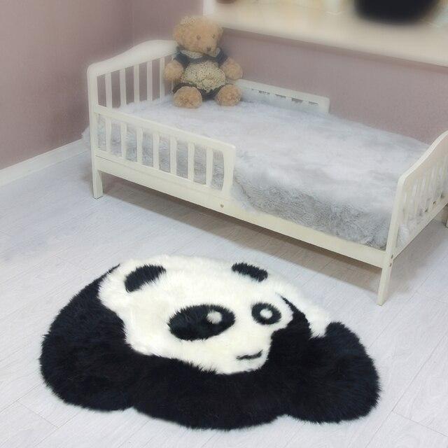 Wool Carpet Sheepskin Mats Pure Wool Carpet Child Blanket Panda Shape China  Rug 92*80cm