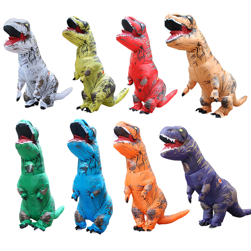 H&ZY Adult T REX Inflatable Costume Christmas Cosplay Dinosaur Animal Jumpsuit Halloween Costume for Women Men
