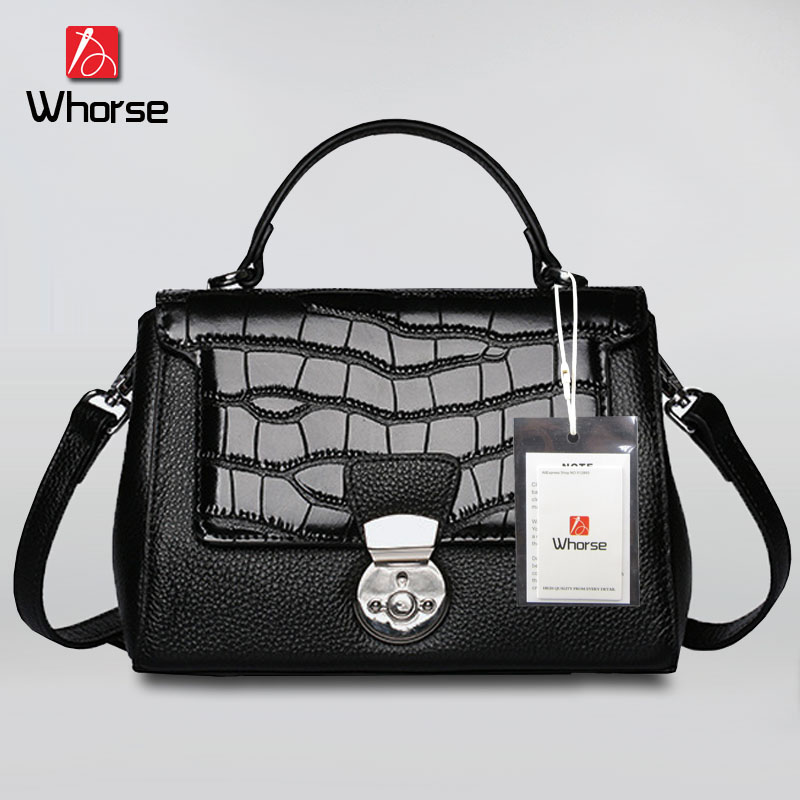 ФОТО [WHORSE] Genuine leather bag ladies crocodile pattern Women messenger bags handbags women famous brand designer high quality