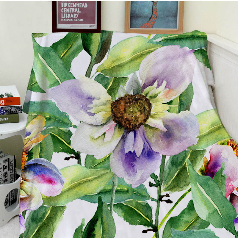 Blankets Cobertor Soft Plush Beautiful Blooming Purple Flowers Green Leaves Sofa Bed Throw Kids Adults Blanket Thick Thin