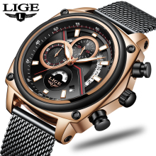 LIGE Mens Watches Top Brand Luxury Pilot Military Sport Watch Men Waterproof Date Auto Clock Quartz WristWatch Montre Homme 2019 ailang date month display rose gold case mens watches top brand luxury automatic watch montre homme clock men casual watch 2018