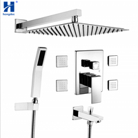 Hongdec Concealed Shower Systems with Body Sprays and Tub Spout 12 Rain Shower head Combo Set