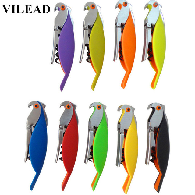 VILEAD New Fashion Design Stainless Steel Muti-Color Parrot Bottle Red Wine Opener Tool Kit Cork Bottle Tire Corkscrew