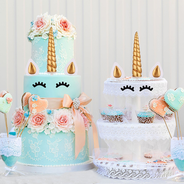 Unicorn Cake Toppers Horn Ears Decorations Cupcake Baby Shower Birthday Party Baking