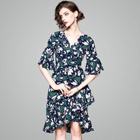 2018 New Sexy Elegant Women Summer Lotus leaf sleeve Vintage Maxi Floral National Chiffon asymmetrical Dress Party Beach Dresses