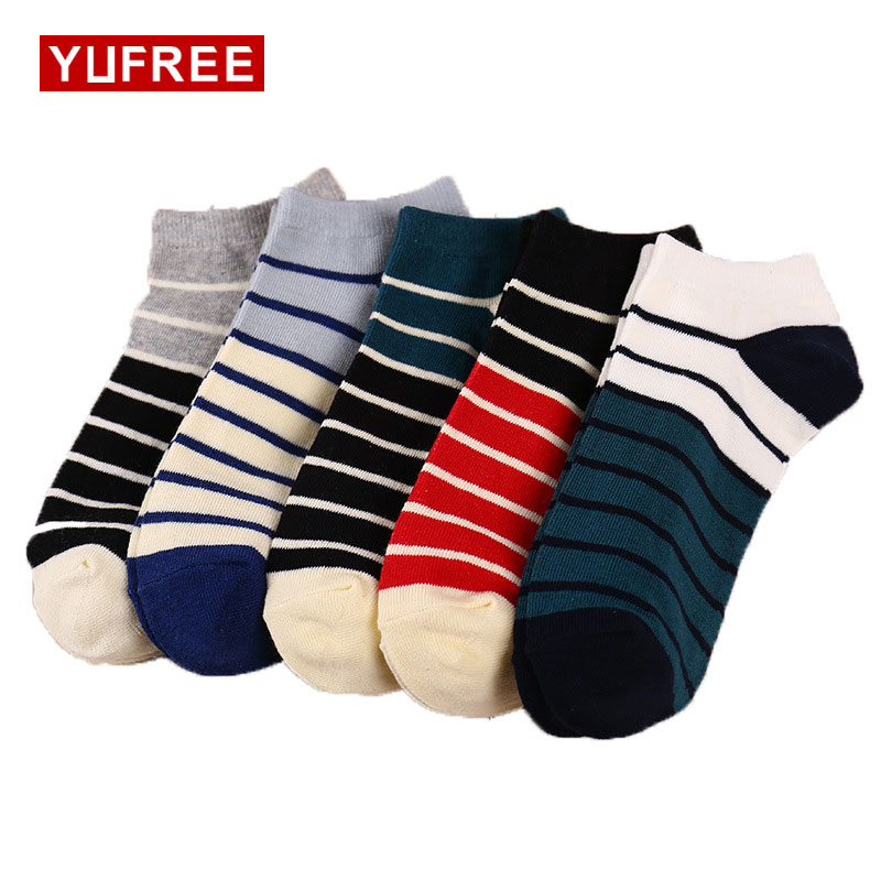 Yufree 2017 Men Socks 100% Cotton Casual Socks Hot Sale Men Fashion Shallow Mouth Socks Sweat Deodorant Socks For Men
