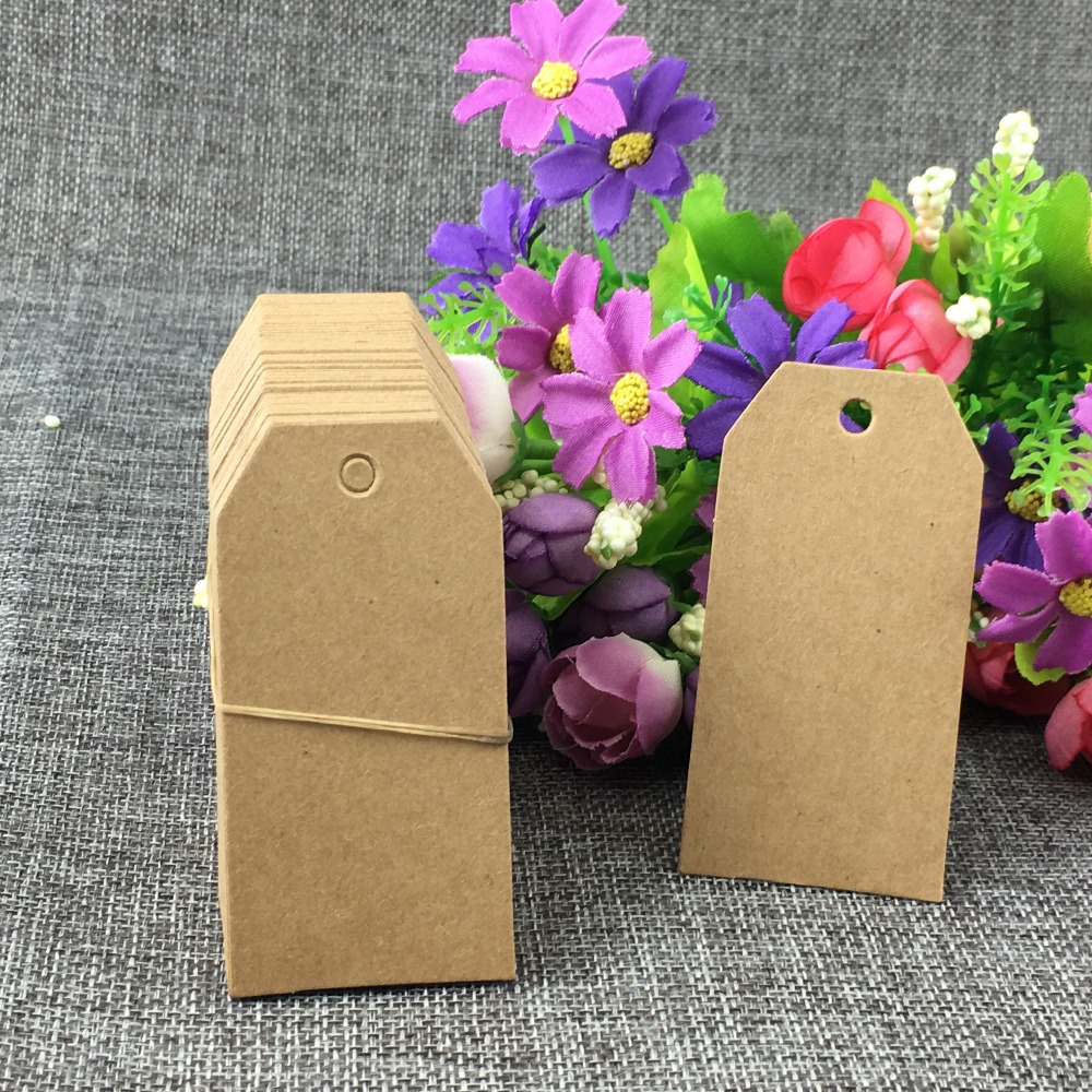 50Pcs/Lot Blank Kraft Paper Cardboard Tags For Notes Gift Fashion Clothes Jewelry Box Hang Tag Labels Colorful Multiple Styles
