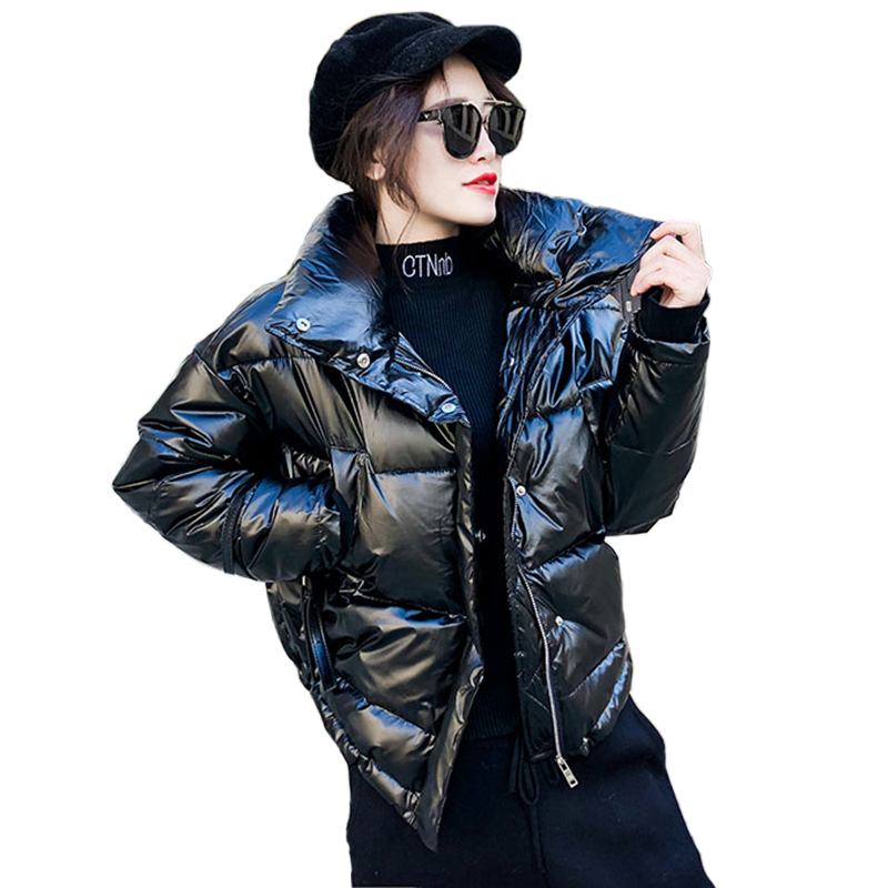 2019 New Glossy Down Jacket Female Large Size Korean Fashion Coat Thick Bright Short Shiny Jacket