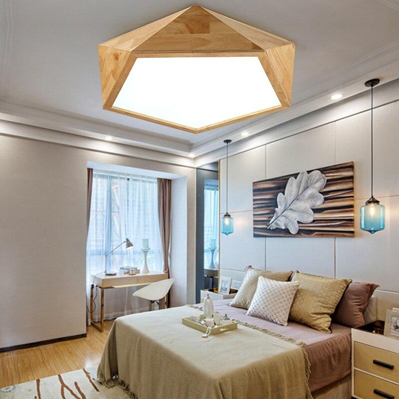 Светодиодные Инопланетные Art потолочный светильник Nordic дома простой гостиной, спальни исследование твердой древесины потолочный светильн...