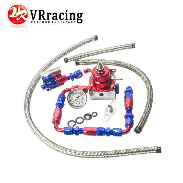 VR RACING - Universal auto fpr AN6 Fittings fuel pressure regulator For 7MGTE MKIII with hose line.Fittings.Gauge VR7843WL