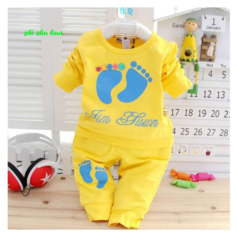 Детская одежда, весенне-осенний спортивный костюм для малышей, хлопковая одежда высокого качества с мультяшным принтом для детей 0-2 лет, 2017
