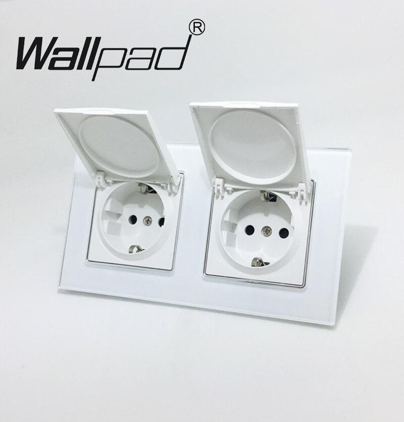 Double Dust Cap UE Schuko Prise Wallpad Blanc Cristal En Verre panneau 110 V-250 V Double Murs Schuko Puissance Socket UE avec Griffes Clips