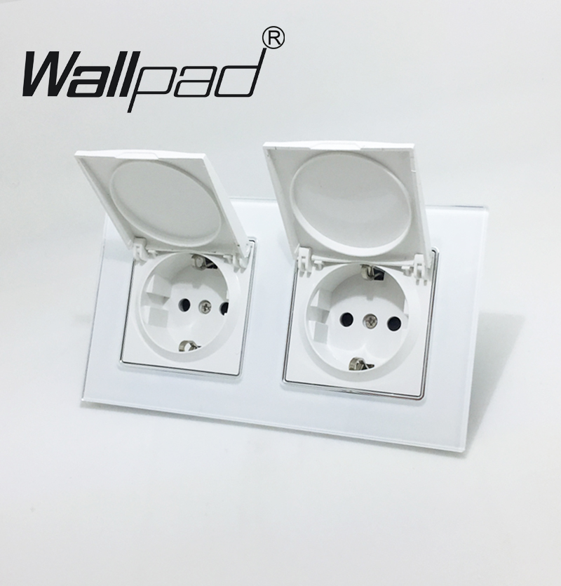 Tapa antipolvo doble UE Schuko Socket Wallpad cristal blanco 110 V-250 V doble Schuko energía de la pared socket UE con Clips garras