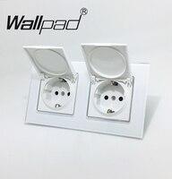 Double Dust Cap EU Schuko Socket Wallpad White Crystal Glass Panel 110V 250V Double Schuko Wall